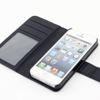RUBAN™New Hybrid Leather Wallet Flip Stand Case Cover With Credit ID Card Slots/ Money Pockets For Apple iPhone 5 5G 5S + Free Screen Protector & Stylus (iphone 5/5S, !!!1BLACK)