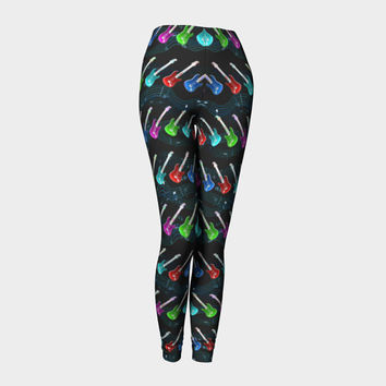 Rock N Roll, Compression fit performance Leggings, XS,S,M,XL, Hot Yoga Pants, Activewear, Yoga Leggins, Made in Canada