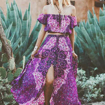 Spell || Kiss the sky maxi skirt in violet