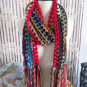 FREE SHIPPING - Crochet, Hippie, Scrap, Fringe, Extra Long, Scarf - Multi, Rainbow, Red, Purple, Green, Tan, Blue, etc.