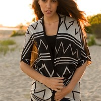 Trials and Tribulations Tribal Print Cardigan - Black from Bohemian at Lucky 21