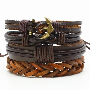 New Handmade Multilayer Fashion 4 Pcs/set Punk Woven Leather Men Bracelets Bangles Vintage Men's Female Jewelry Accessories