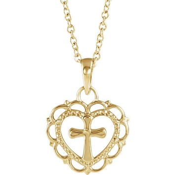 Youth 14k White or Yellow Gold Heart with Cross Necklace, 16-18 Inch
