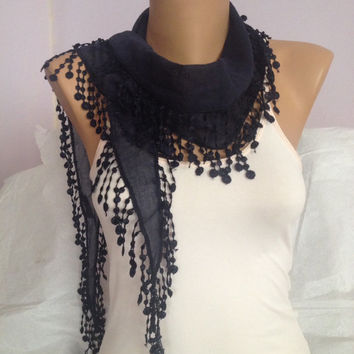 Navy Blue Scarf - Blue Lace Scarf - Mothers Day Gift - Fashion Accessories