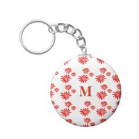 Pretty Tiny Orange Wildflower Pattern Monogram Keychain