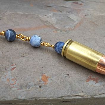 Blue Sodalite 9mm Brass Bullet Necklace