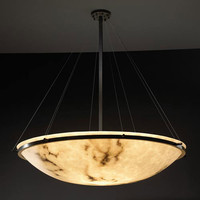 Justice Design Group FAL-9697-35-DBRZ-LED-6000 LumenAria 48-Inch Round Bowl 6000 Lumen LED Pendant with Ring