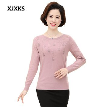 XJXKS Hot Sweaters Knitted Pullover Sweater Women Sweater Jumper Women Sweaters Pull Femme Winter Long sleeve Wool Female 59054