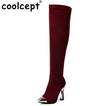 Women Vintage Boots Genuine Leather Over Knee Boots Sexy High Heel Metal Pointed Toe Botas Winter Zipper Women Shoes Size 34-39