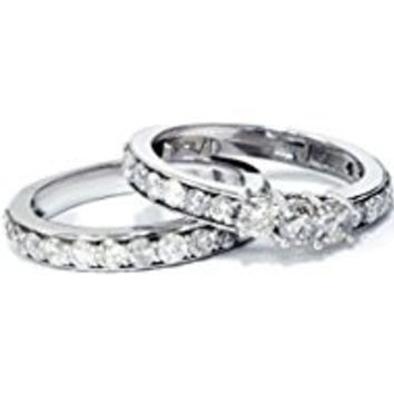 238 2 1/6ct 3-Stone Diamond Engagement Wedding Ring Set 10K White Gold