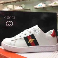 GUCCI Fashion Women Men Small Bee Embroidery Sport Shoes Sneakers White B-A-HYSM