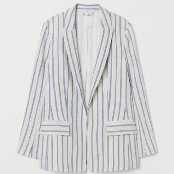 Straight-cut Blazer - White/blue striped - Ladies | H&M US