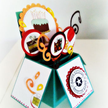3d Birthday Box Card. Ready to Ship.Presents and balloons. Happy Birthday Message. Fun birthday card. Explosion card box. Card in a box.