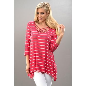 Sail Off Criss Cross Top - Coral