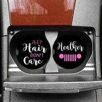 Jeep Car Coaster, Jeep Lover, Jeep Hair Don't Care Car Cup Holder, New Jeep Gift for her, Funny Car coaster, (CAR00032)