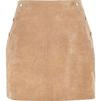 Tan suede A-line mini skirt