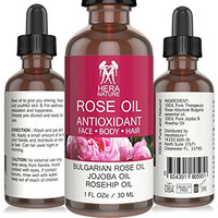 Hera Nature Rose Antioxidant Bulgarian Essential Oil, 100% Pure, in Jojoba & Rosehip Oil - Therapeutic Grade - 30ml (1oz)