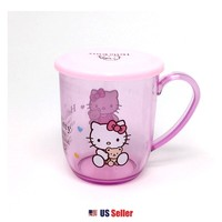 Sanrio Hello Kitty Light Pink Transparent PE Handle Cup with Lid Cap $4.99