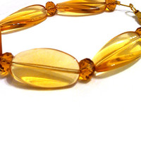 Amber yellow long oblong wavy glass beaded chunky bracelet , fall bracelet holiday jewelry
