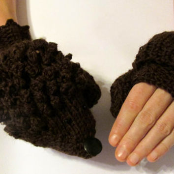Hedgehog mittens brown color convertible fingerless gloves