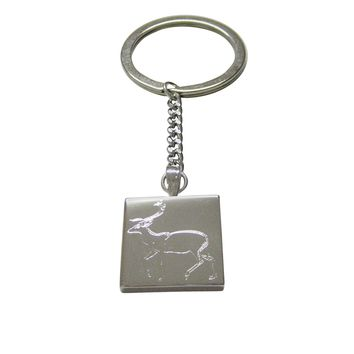 Silver Toned Etched Left Facing Fallow Deer Keychain