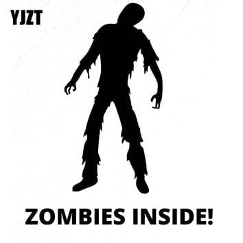 YJZT 11x13CM Funny ZOMBIE Inside Vinyl Car-styling Motorcycle Decals Car Sticker Black/Silver S8-1209