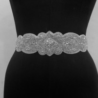 Bridal Wedding Dress Rhinestone Vintage Beaded Crystal Embellished Belt Sash Embellishment