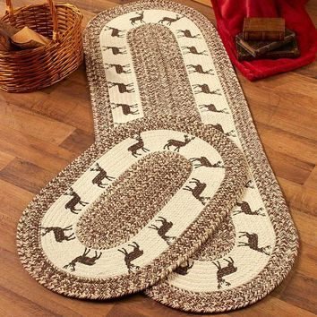 Lodge Country Themed Braided Rug Runner or Set Deer Bear Country Star
