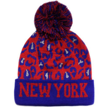 CITY Hunter Sk950 Leopard College Pom Beanie Hat - New York (Royal/red)