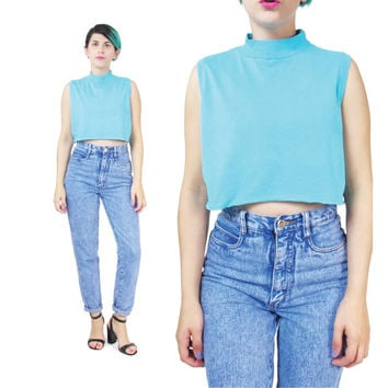 80s Turquoise Crop Top Aqua Blue Turtleneck Tank Top  Sleeveless Cropped Tshirt Slouchy Funnel Neck Top Slouchy Summer Shirt (S/M/L)