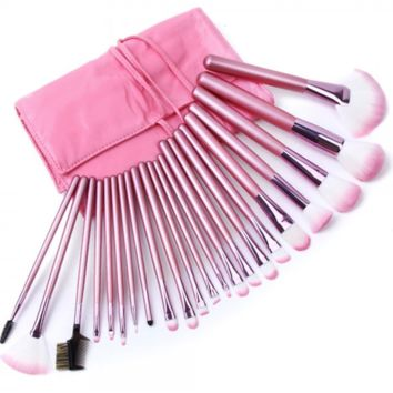 Makeup Brush Set: 32 Piece Makeup Brushes with Pink Cosmetic Case