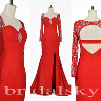 Charming Sexy Long Lace Sleeve Cut Back Shinning Crystal Long Red Formal Party Evening/Prom Dresses