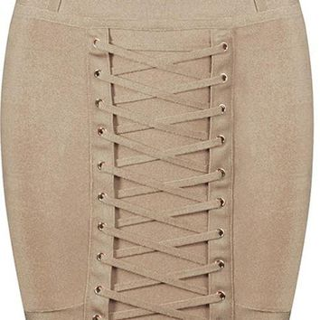 Lace Bandage Mini Skirt - Khaki