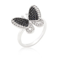 Black And White Cubic Zirconia Butterfly Ring, size : 09