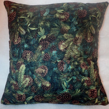 Decorative Pillow Cover, Christmas Pillow Cover, Holiday Decor, Pine Cone, 18 x 18 Pillow Cover, Ever Green, Pine Tree, Christmas Tree,