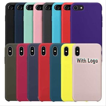 Have LOGO Official Original Liquid Silicone Phone Case For iPhone 6 6S 7 8 Plus X Soft Cover For Apple Fitted Cases & Retail Box