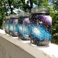 Made to order galaxy mason jar mugs by ArianaVictoriaRose on Etsy