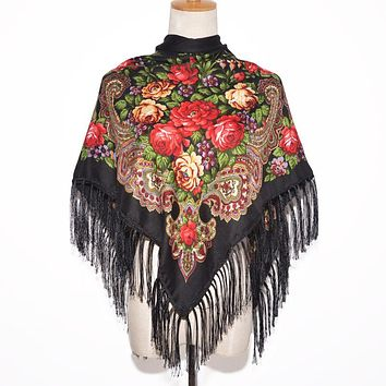 2017 New Fashion Women Square Winter Wrap Scarf Luxury Brand Lady Tassel Bandana Shawl Floral Designer Poncho Hot Sale Headband