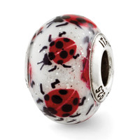 Sterling Silver Reflections Lady Bugs Italian Murano Bead