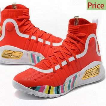 Purchase 2018 New Mens Under Armour Curry 4 Mid Basketball Shoes Bright Red White Gold Muliticolor sneaker