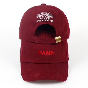 Kendrick Lamar DAMN. What Happens On Earth Stays On Earth Wine Red Black & White Unstructured Embroidered Cotton Dad Hat