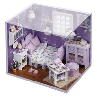 Cutroom DIY Handmade 1:32 Miniature Dollhouse Lovely Cute Dreaming Kit with Cover LED Light Sweet Sunshine Doll house Girl Gift