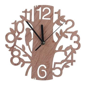 Modern 3D Wooden Tree and Bird Wall Clock Analog Living Room Home Office Decor