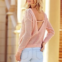 Marled Draped Open-back Sweater