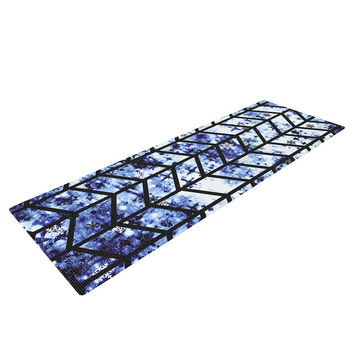 "Ebi Emporium ""Chevron Wonderland II"" Blue Black Yoga Mat"
