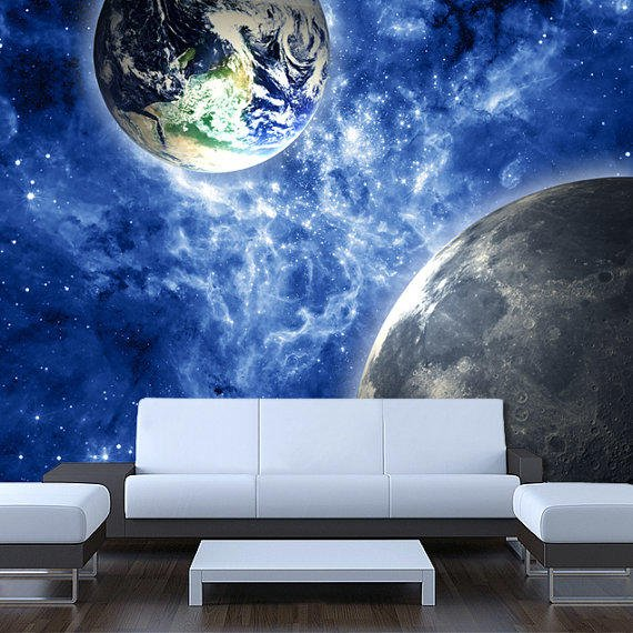 Ceiling sticker mural space blue stars from wallnit on etsy for Blue moon mural