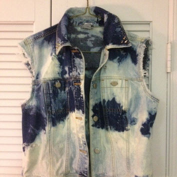 Destroyed/ Spiked Bleach Denim Vest