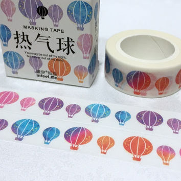 hot air balloon washi tape 7M x 1.5cm colorful hot air balloon flying on sky Masking tape travel planner sticker tape scrapbook gift