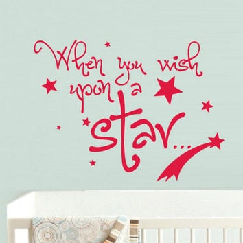 rvz841 Wall Vinyl Sticker Bedroom Decal Words Sign Quote Star Wish Kids Nursery (Z841