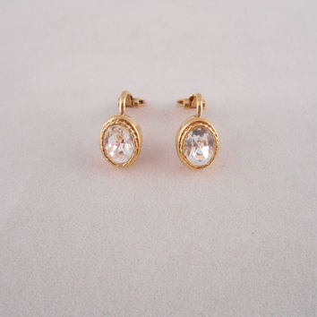 Gold and Diamond Earrings Clip On Back (Costume Jewelry)